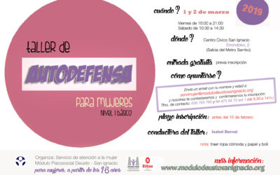 Nuevo taller de autodefensa feminista, marzo 2019